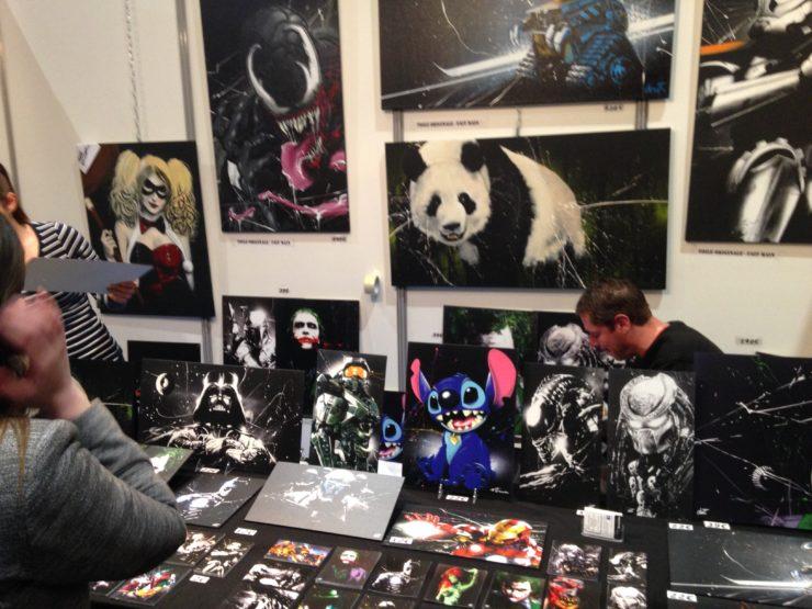 tableau geek, batman, panda, harley quinn, dark vador