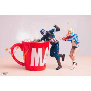 figurines captain america & harley quinn